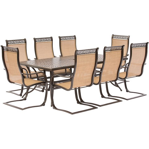 Manor 9PC Dining Set with Eight C-Spring Chairs and a 84 x 42 in. Cast-Top Dining Table - MANDN9PCSP