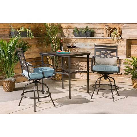 Hanover Montclair 3-Piece High-Dining Set in Ocean Blue with 2 Swivel Chairs and a 33-Inch Square Table - MCLRDN3PCBRSW2-BLU