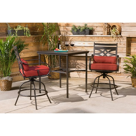 Hanover Montclair 3-Piece High-Dining Set in Chili Red with 2 Swivel Chairs and a 33-Inch Square Table - MCLRDN3PCBRSW2-CHL