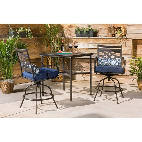 Hanover Montclair 3-Piece High-Dining Set in Navy Blue with 2 Swivel Chairs and a 33-Inch Square Table - MCLRDN3PCBRSW2-NVY