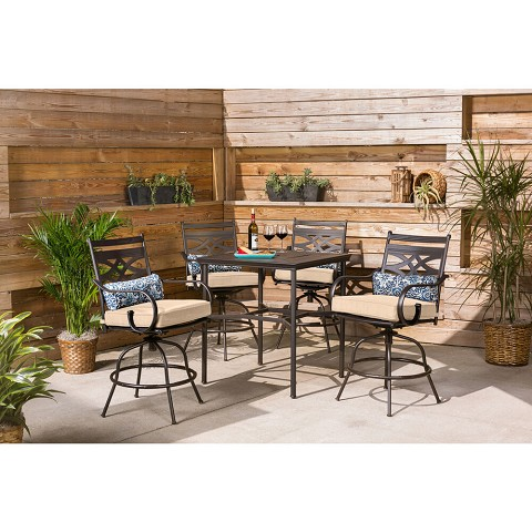 Hanover Montclair 5-Piece High-Dining Patio Set in Country Cork with 4 Swivel Chairs and a 33-In. Counter-Height Dining Table, MCLRDN5PCBR-TAN