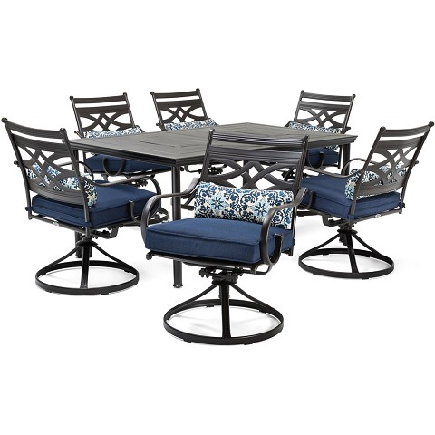 "Hanover Montclair 7-Piece Dining Set in Navy Blue with 6 Swivel Rockers and a 40"" x 67"" Dining Table - MCLRDN7PCSQSW6-NVY"