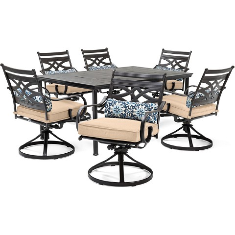 "Hanover Montclair 7-Piece Dining Set in Country Cork with 6 Swivel Rockers and a 40"" x 67"" Dining Table - MCLRDN7PCSQSW6-TAN"