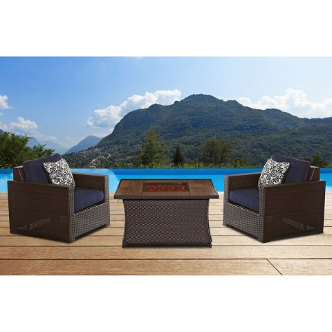 Metropolitan 3PC Chat Set with Tile-top LP Gas Fire Pit in Navy Blue - MET3PCFP-NVY-A