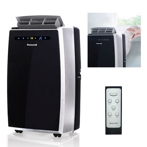 Portable Air Conditioner with Dehumidifier & Fan for Rooms Up To 450 Sq. Ft. with Remote Control (Black/Silver) - MN10CES