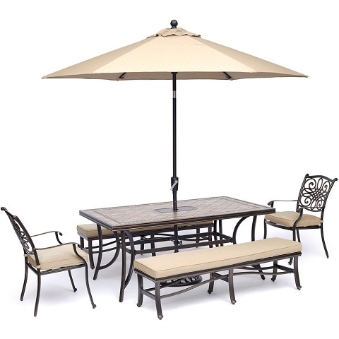 "Hanover Monaco 5-Piece Dining Set in Tan with 2 Dining Chairs, 2 Benches, 40"" x 68"" Tile-Top Table, and a 9 Ft. Umbrella with Stand - MONDN5PCBN-SU-T"
