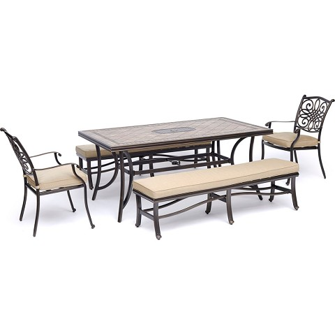 "Hanover Monaco 5-Piece Dining Set in Tan with 2 Dining Chairs, 2 Cushioned Benches, and a 40"" x 68"" Tile-Top Table - MONDN5PCBN-TAN"