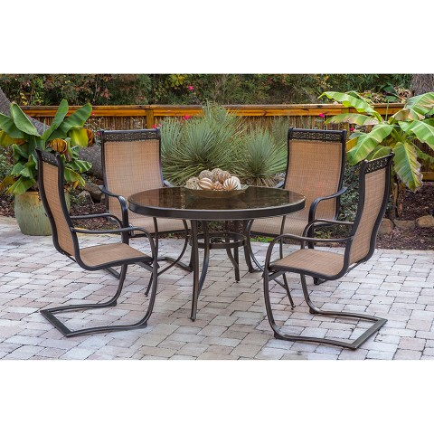 Monaco 5PC Outdoor Dining Set with C-Spring Chairs and Glass-Top Dining Table - MONDN5PCSPG