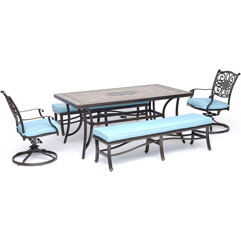 "Hanover Monaco 5-Piece Dining Set in Blue with 2 Swivel Rockers, 2 Cushioned Benches, and a 40"" x 68"" Tile-Top Table - MONDN5PCSW2BN-BLU"