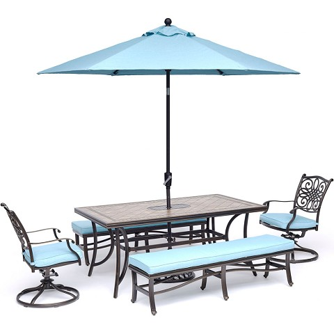 "Hanover Monaco 5-Piece Dining Set in Blue with 2 Swivel Rockers, 2 Benches, 40"" x 68"" Tile-Top Table, and a 9 Ft. Umbrella with Stand - MONDN5PCSW2BN-SU-B"