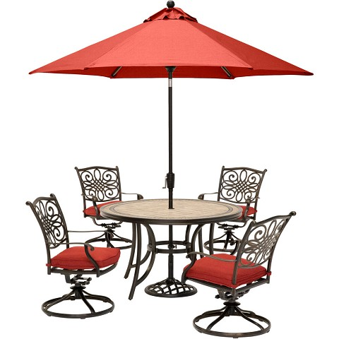 Hanover Monaco 5-Piece Dining Set in Red with 4 Cushioned Dining Chairs, a 51 In. Tile-Top Table, and a 9 Ft. Table Umbrella - MONDN5PCSW4-SU-R