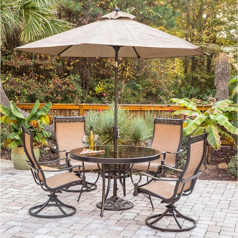Monaco 5PC Dining Set with 4 Swivel Rockers, Glass-top Table, 9 Ft. Umbrella and Base- MONDN5PCSWG-SU
