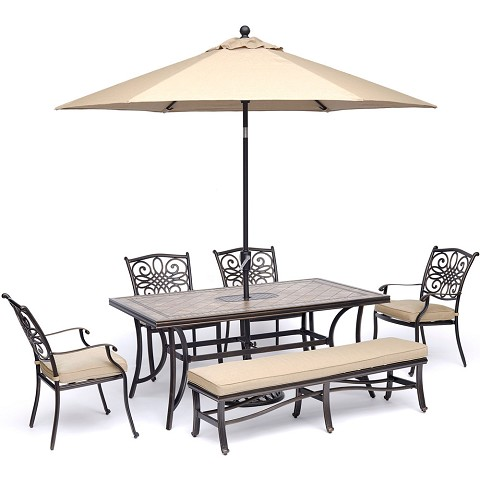 "Hanover Monaco 6-Piece Dining Set in Tan with 4 Arm Chairs, 1 Bench, a 40"" x 68"" Tile-Top Table, and a 9 Ft. Umbrella with Stand - MONDN6PCBN-SU-T"