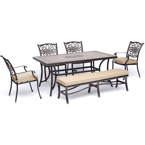 "Hanover Monaco 6-Piece Dining Set in Tan with Four Dining Chairs, a Cushioned Bench, and a 40"" x 68"" Tile-Top Table - MONDN6PCBN-TAN"