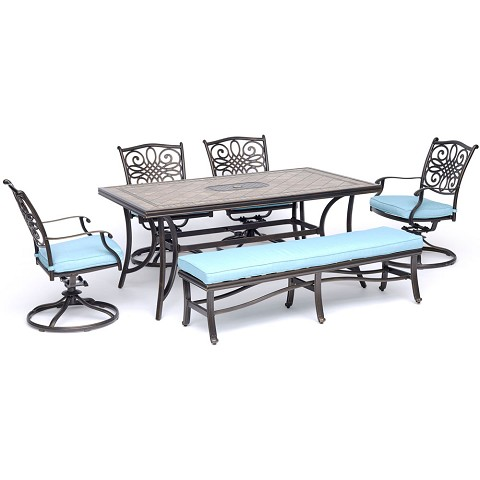 "Hanover Monaco 6-Piece Dining Set in Blue with Four Swivel Rockers, a Cushioned Bench, and a 40"" x 68"" Tile-Top Table - MONDN6PCSW4BN-BLU"
