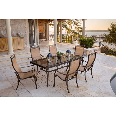 Monaco 7PC Dining Set with 6 Dining Chairs and XL Glass-top Table - MONDN7PCG
