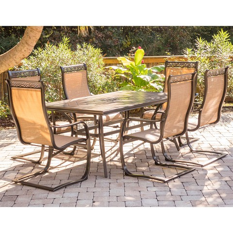Monaco 7PC Dining Set with Six C-Spring Chairs and a Tile-top Dining Table - MONDN7PCSP