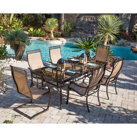 Monaco 7PC Dining Set with 4 Dining Chairs, 2 C-Spring Chairs, and Glass-top Table - MONDN7PCSP2G