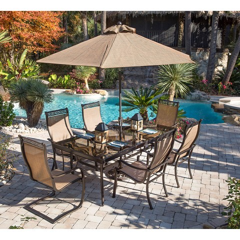 Monaco 7PC Dining Set with 4 Chairs, 2 C-Spring Chairs, Glass-top Table, Umbrella and Stand - MONDN7PCSP2G-SU