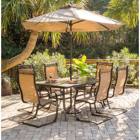Monaco 7PC Dining Set with 6 C-Spring Chairs, Tile-top Dining Table, 9 Ft. Umbrella and Base - MONDN7PCSP-SU