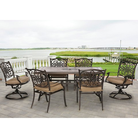 Monaco 7PC Dinning Set with Four Stationary Chairs and Two Swivel Rockers - MONDN7PCSW-2