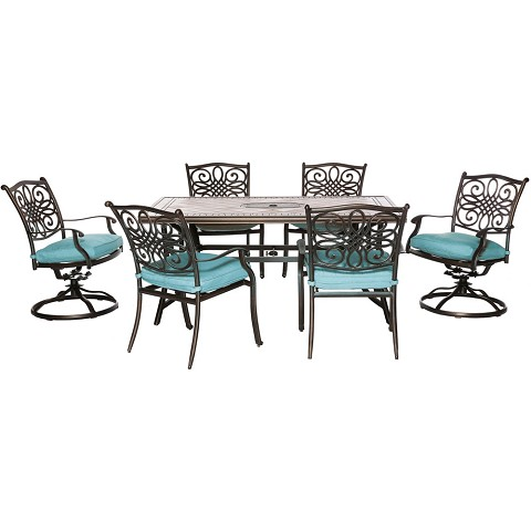 "Hanover Monaco 7-Piece Dining Set in Blue with 4 Dining Chairs, 2 Swivel Rockers, and a 40"" x 68"" Tile-Top Table - MONDN7PCSW-2-BLU"