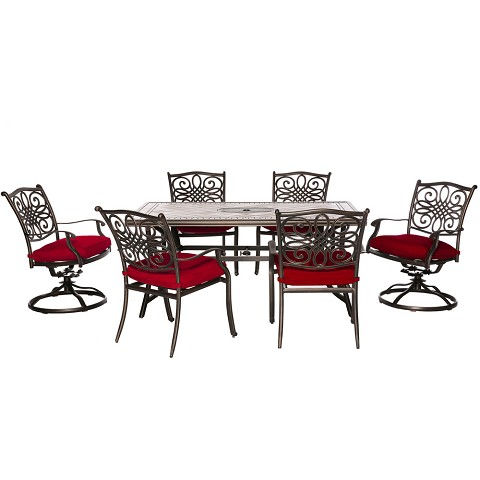 "Hanover MONDN7PCSW-2-RED Monaco 7-Piece Dining Set in Red with 4 Dining Chairs, 2 Swivel Rockers, and a 40"" x 68"" Tile-Top Table"