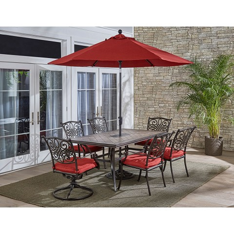 "Hanover Monaco 7-Piece Patio Dining Set in Red with 4 Chairs, 2 Swivel Rockers, 40"" x 68"" Tile-Top Table, 9-Ft. Umbrella and Stand, MONDN7PCSW-RED-SU"