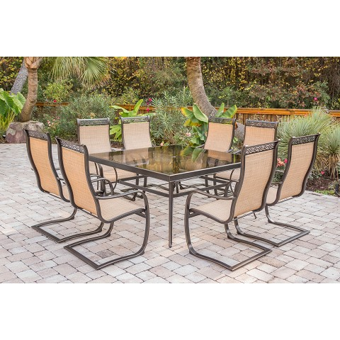 Monaco 9PC Dining Set with an Extra Large Glass-top Table and Eight C-Spring Chairs - MONDN9PCSPG