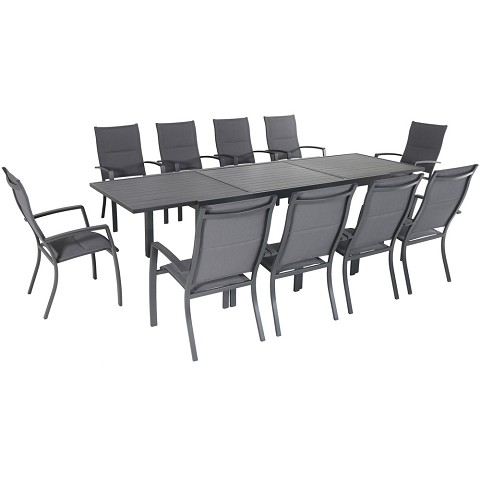 "Hanover Naples 11-Piece Outdoor Dining Set with 10 Padded Sling Chairs in Gray and a 40"" x 118"" Expandable Dining Table - NAPDN11PCHB-GRY"