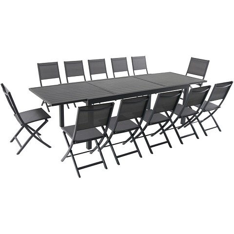 "Hanover Naples 13-Piece Dining Set with 12 Folding Sling Chairs and a 40"" x 118"" Expandable Dining Table - NAPDN13PCFD-GRY"