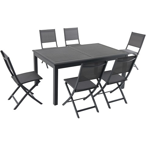 "Hanover Naples 7-Piece Dining Set with 6 Folding Sling Chairs and a 40"" x 118"" Expandable Dining Table - NAPDN7PCFD-GRY"