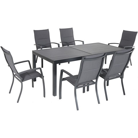 "Hanover Naples 7-Piece Outdoor Dining Set with 6 Padded Sling Chairs in Gray and a 40"" x 118"" Expandable Dining Table - NAPDN7PCHB-GRY"