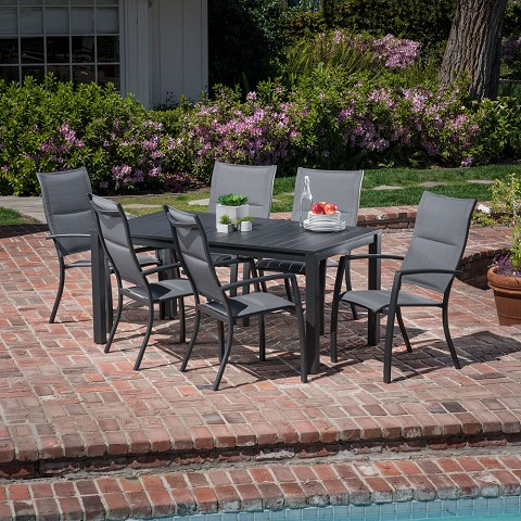 "Hanover Naples 7-Piece Outdoor Dining Set with 6 Padded Sling Chairs in Gray and a 63"" x 35"" Dining Table - NAPDNS7PCHB-GRY"