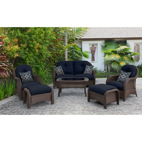 Newport 6PC Seating Set in Navy Blue - NEWPORT6PC-NVY