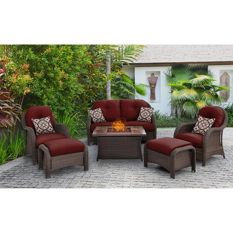 Newport 6PC Woven Seating Set in Crimson Red with Tile-top Fire Pit Table - NEWPT6PCFP-RED-WG