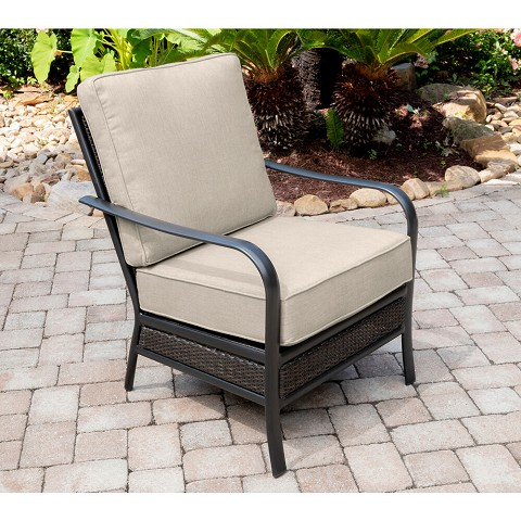 Hanover Oakmont Commercial-Grade Aluminum/Woven Club Chair with Plush Sunbrella Cushions, OAKSDCH-ASH