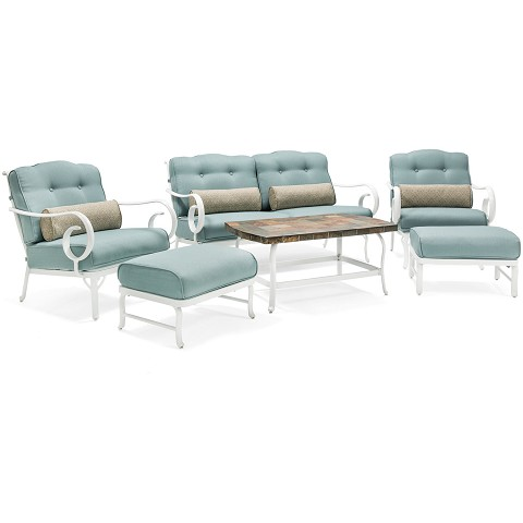 Oceana 6PC Patio Seating Set in Blue - OCECST6PC-BLU