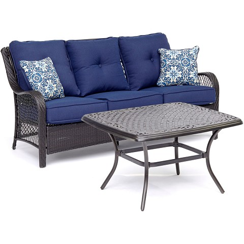 Hanover Orleans 2-Piece Patio Set in Navy Blue - ORL2PCCT-NVY