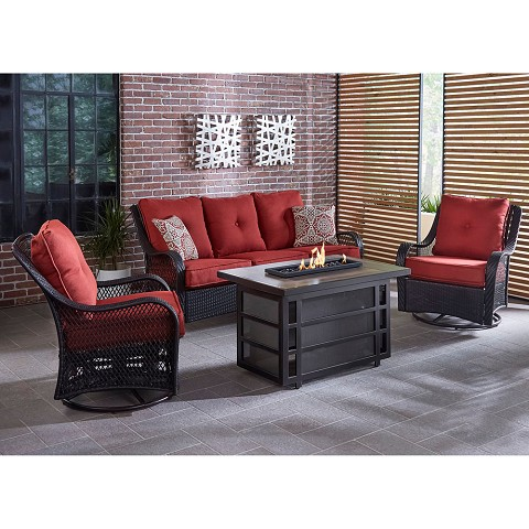 Hanover Orleans 4-Piece Woven Lounge Set with 30,000 BTU Fire Pit Table in Autumn Berry -