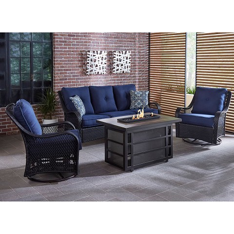 Hanover Orleans 4-Piece Woven Lounge Set with 30,000 BTU Fire Pit Table in Navy Blue - ORL4PCRECFP-NVY