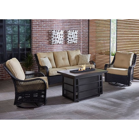 Hanover Orleans 4-Piece Woven Lounge Set with 30,000 BTU Fire Pit Table in Sahara Sand - ORL4PCRECFP-TAN