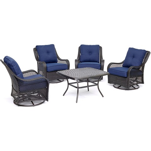 "Hanover Orleans 5-Piece Patio Chat Set in Navy Blue with 4 Swivel Rockers and a 32"" x 38"" Cast-Top Coffee Table - ORL5PCCTSW4-NVY"