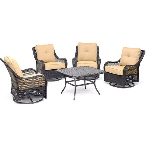 "Hanover Orleans 5-Piece Patio Chat Set in Sahara Sand with 4 Swivel Rockers and a 32"" x 38"" Cast-Top Coffee Table - ORL5PCCTSW4-TAN"