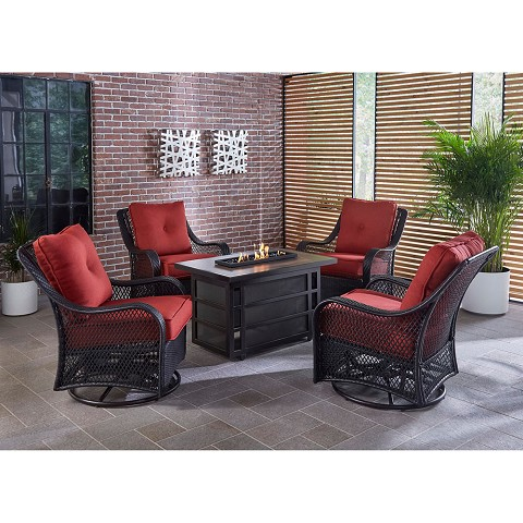 Hanover Orleans 5-Piece Fire Pit Chat Set with a 30,000 BTU Fire Pit Table and 4 Woven Swivel Gliders in Autumn Berry - ORL5PCSW4RECFP-BRY
