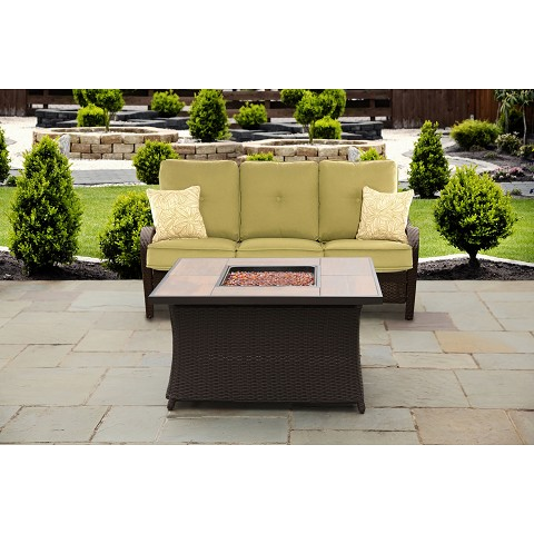 Orleans 2PC Woven Stone-Top Fire Pit Set in Avocado Green - ORLEANS2PCFP-GRN-B
