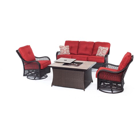 Orleans 4PC Woven Fire Pit Set with Tan Porcelain Tile Top in Autumn Berry - ORLEANS4PCFP-BRY-B