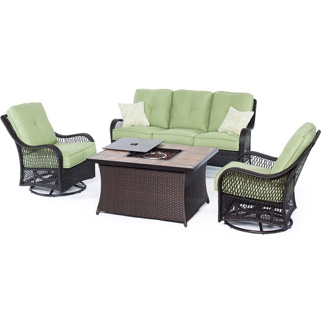 Orleans 4PC Woven Fire Pit Set with Tan Porcelain Tile Top in Avocado Green - ORLEANS4PCFP-GRN-B