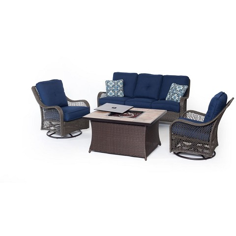 Orleans 4PC Woven Fire Pit Set with Tan Porcelain Tile Top in Navy Blue - ORLEANS4PCFP-NVY-B
