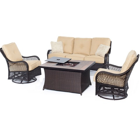 Orleans 4PC Woven Fire Pit Set with Wood Grain Tile Top in Sahara Sand - ORLEANS4PCFP-TAN-A